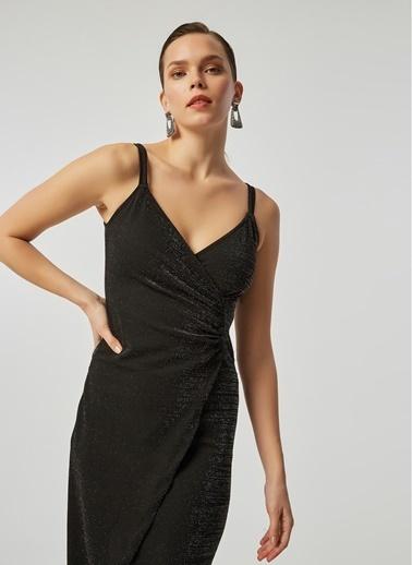 Monamoda Anvelop Kapama Düğmeli Simli Elbise Siyah